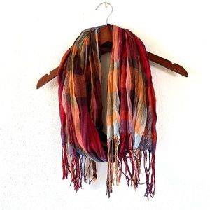 Fall Plaid Lightweight Scarf with Fringe